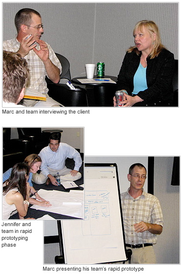 Marc Duisenberg and Jennifer Chaffee of Mouseworksmedia participated in a Design Slam during the Usability Professional's Association Connecticut's chapter meeting in July 2010.